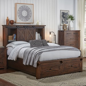 Sun Valley Queen Storage Headboard w/Storage Footboard