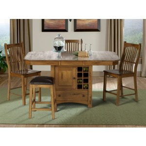 Laurelhurst 5-Piece Wine Storage Gather Height Table Set