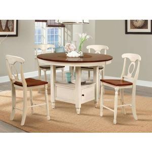 British Isles Round Gathering Table - Merlot/Buttermilk
