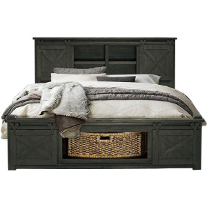 CAL-KING BED – STORAGE HEADBOARD W/ ROTATING STORAGE