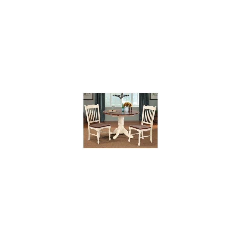 British Isles Dropleaf Table - Merlot/Buttermilk