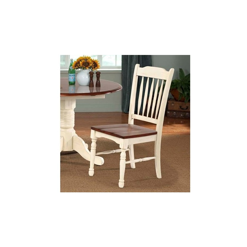 British Isles Slatback Side Chair - Merlot/Buttermilk