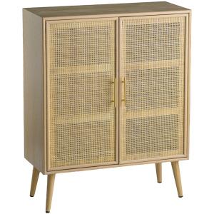 2 Door Cabinet - Rattan & Light Wood