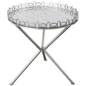 "D24x26.3"" Accent Table, Metal /Glass 1EA/CTN"