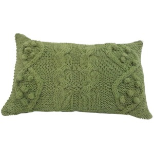 Twisted Cable Knit Pillow - Green