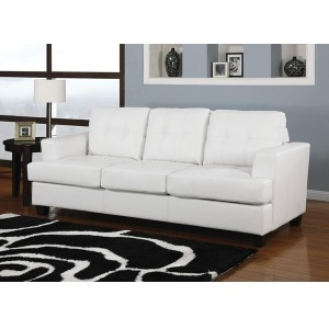 Platinum White Bonded Leather Sofa w/Queen Sleeper