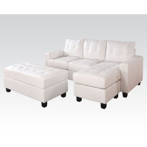Lyssa White Reversible Sectional & Ottoman