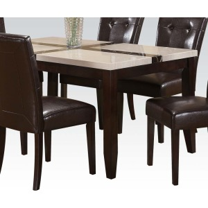 Justin White Black Faux Marble Dining table