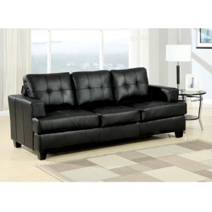 Platinum Black Bonded Leather Sofa w/Queen Sleeper