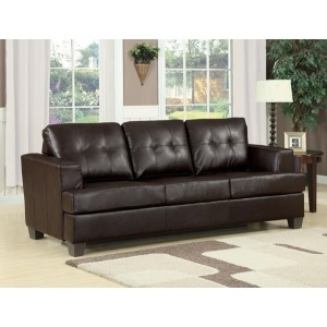 Brown Bonded Leather Sofa w/Queen Sleeper