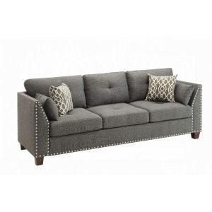 Laurissa Sofa w/4 Pillows - Light Charcoal Linen
