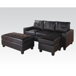 Lyssa Black Reversible Sectional & Ottoman