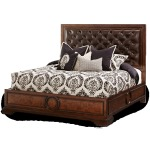 Eastern King Panel Bed w/Leather Tufted Headboard
