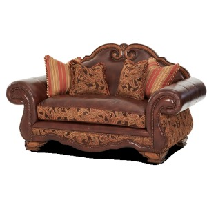 Leather/Fabric High Back Loveseat - Opt1