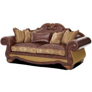 Leather/Fabric High Back Sofa - Opt3
