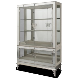 Pearl Caviar Curio with Glass Doors (2 pc)