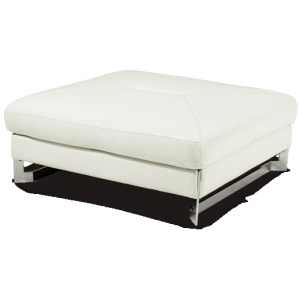 Marco Leather Cocktail Ottoman in White St.Steel