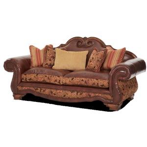 Leather/Fabric High Back Sofa - Opt1