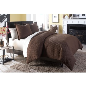 Leigh 3 pc King Coverlet/Duvet Set Cocoa (3PC A)