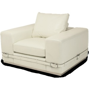 Ciras Leather Chair in Cream St.Steel