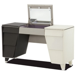 Pearl Caviar w/Black and Gray Upholstered Vanity w/Mirror