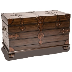 Wood Trunk w/Metal Accent