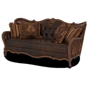 Leather/Fabric Wood Trim Tufted Sofa