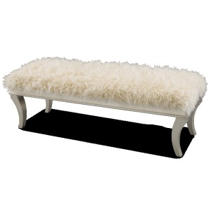Platinum Faux Sheepskin Bed Bench