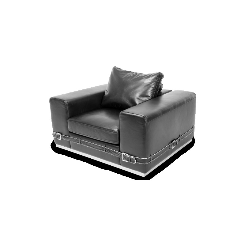 Ciras Leather Chair in Black St.Steel