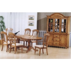 Solid Wood Double Pedestal Table with Butterfly Leafs