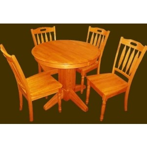 Solid Oak Chair with Wood Seat