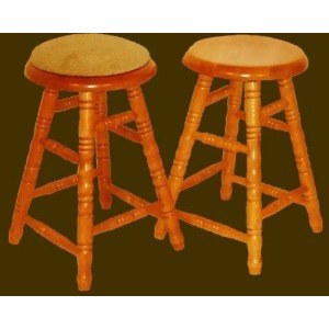 Solid Oak Backless Swivel Barstool