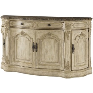 Buffet -White Veil Finish w/Marble Top