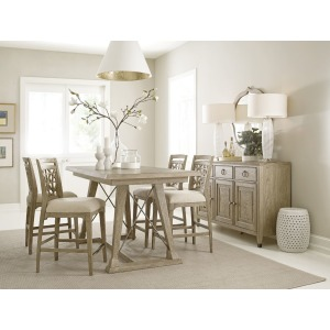 Clayton Counter Height Trestle Table & 4 Stools