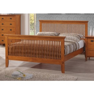 Mission Queen Bed - Honey Oak
