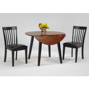 Slatback Side Chair with upholstered seat black vinyl