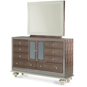 Hollywood Swank Upholstered Dresser & Mirror
