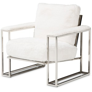 Trance Astro Faux Fur Chair Stainless Steel