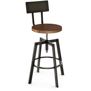 Architect Counter Screw Stool - Wood Seat