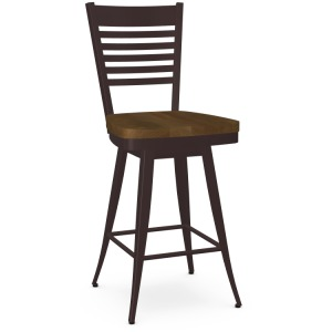 Edwin Swivel Counter Stool - Wood Seat