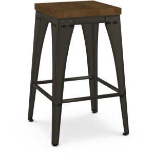 Upright Counter Height Stool - Wood Seat