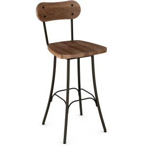 Bean Counter Swivel Stool - Wood Seat