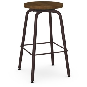 Button Counter Height Swivel Stool - Wood Seat