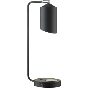 """20.5"""" Table Lamp Phone Charger  - Metal Mate Black"""
