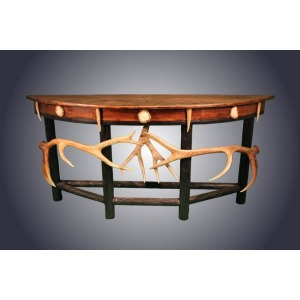Demi Lune Oak & Antler Accents Sofa Table
