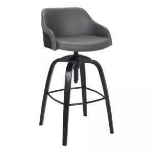 Tara Contemporary Adjustable Barstool in Black Brushed Wood Finish