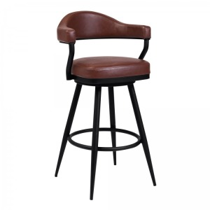 "Justin 26"" Counter Height Barstool in a Black Powder Coated Finish and Vintage Coffee Faux Leather"
