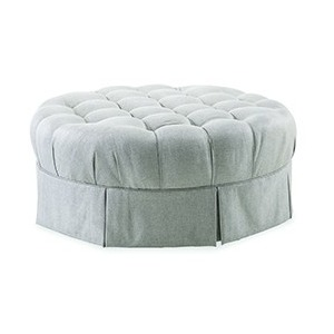 Round Tufted Top Ottoman with Kick Plea