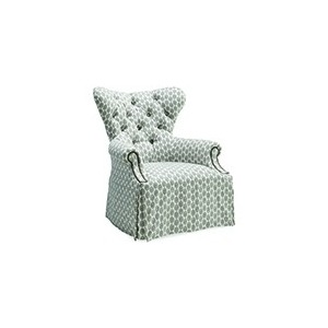 Tufted Back Skirted Wing Chair