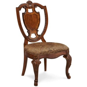 Old World Shield Back Side Chair w/ Fabric Seat
